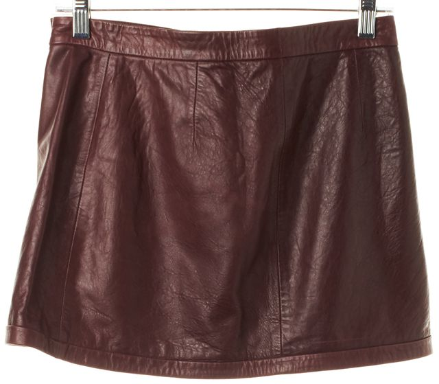 A.L.C. Burgundy Red Leather Above Knee Wrap Skirt