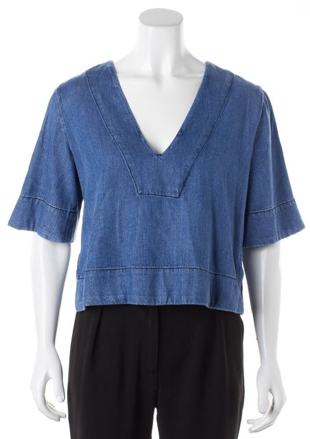 A.L.C. Blue Denim Cropped V-Neck Tunic Blouse