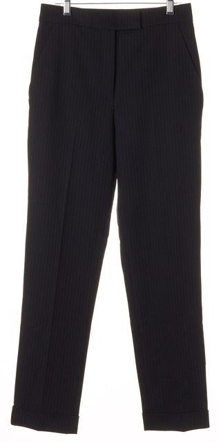 A.L.C. Dark Navy Blue Pinstriped Cuffed Splurge Trousers Pants