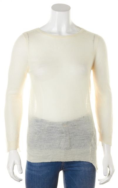 A.L.C. Ivory Sheer Wool Long Sleeve Crewneck Knit Top
