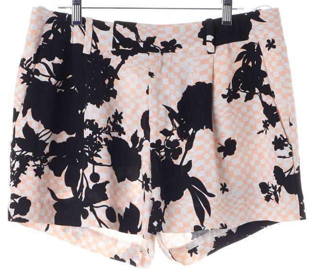 A.L.C. Pink Black Floral Checkered Silk Hayes Casual Shorts