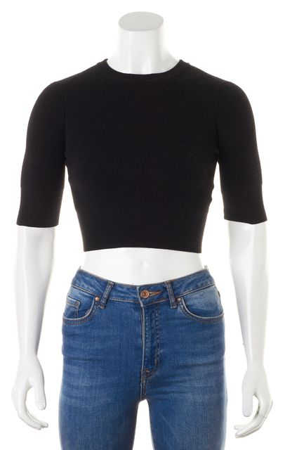A.L.C. Black Wool Short Sleeve Crewneck Cropped Ribbed Knit Top