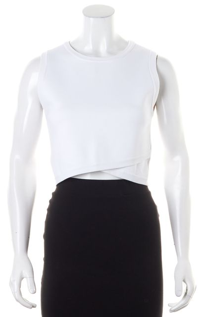 A.L.C. White Sleeveless Crewneck Cropped Knit Top