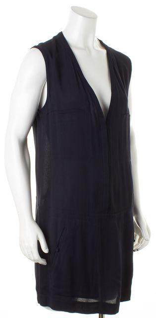 A.L.C. Navy Blue Sleeveless Deep V-Neck Shift Dress