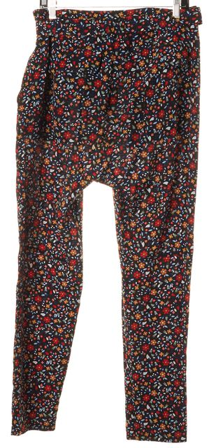 A.L.C. Black Red Multi Floral Silk Waist Tie High Rise Casual Pants
