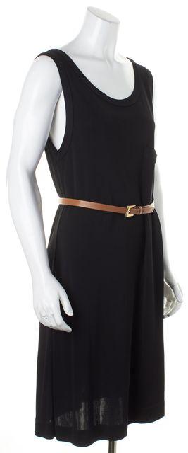 A.L.C. Black Jersey Sleeveless Belted Shift Dress