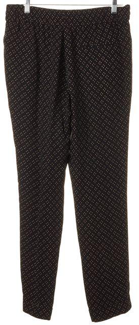 A.L.C. Black Beige Petal Print Silk Drawstring Casual Pants