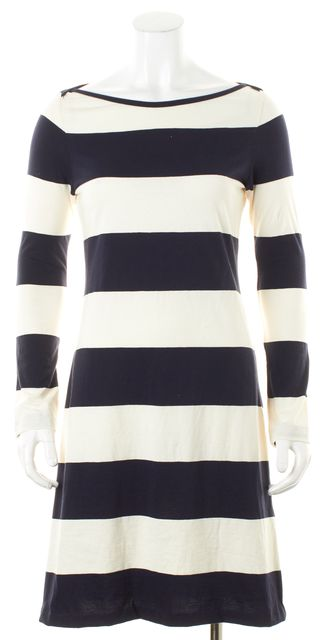 A.L.C. Blue Ivory Navy Blue Striped Long Sleeve Stretch Jersey Dress