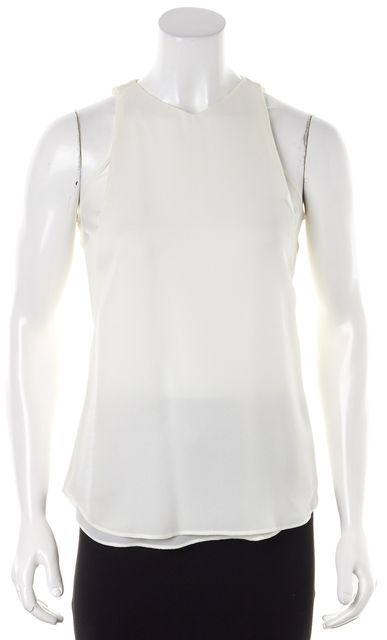 A.L.C. White Crepe Silk Criss Cross Tank Top
