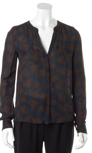 A.L.C. Navy Blue Brown Silk Paisley Printed Button Down Blouse