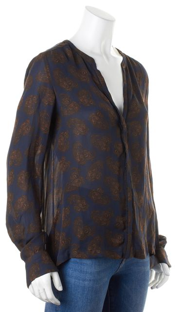 A.L.C. Navy Brown Paisley Silk Long Sleeve Button Down Blouse