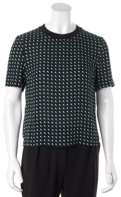 A.L.C. Black Green Pill Printed Silk Short Sleeve Blouse Top