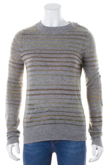 A.L.C. Gray Striped Cashmere Crewneck Sweater