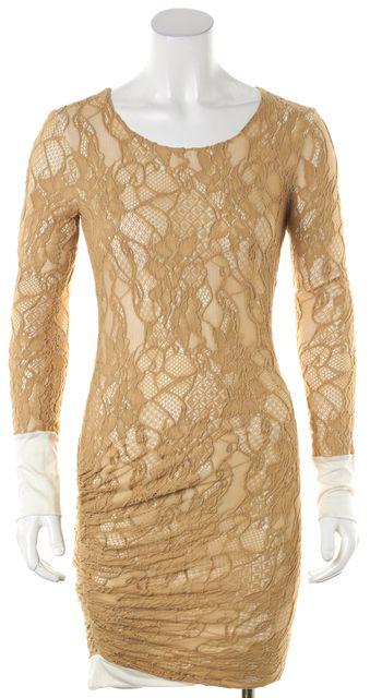 A.L.C. Beige White Layered Lace Side Ruche Sheath Dress