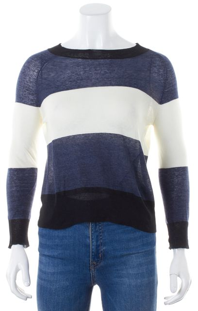 A.L.C. Blue Ivory Black Striped Long Sleeve Crewneck Knit Top