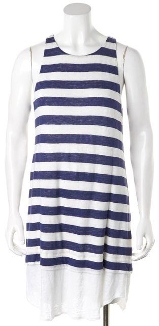 A.L.C. Blue White Striped Linen Sleeveless Shirt Dress