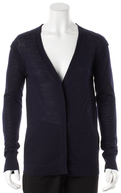A.L.C. Navy Textured Wool Button Up Cardigan