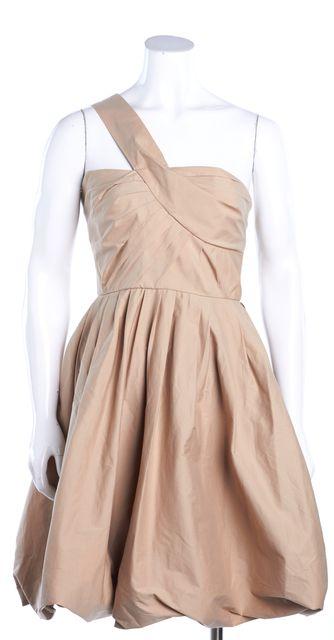 A.L.C. Beige Stretch Cotton One Shoulder Bubble Hem Pleated Mini Dress
