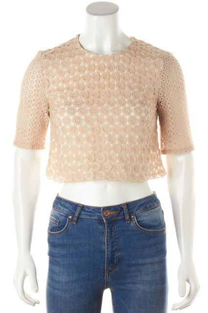 A.L.C. Beige Lace Lined Front Sheer Back Cropped Blouse