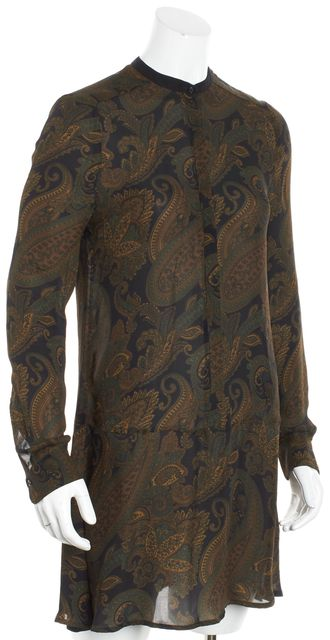 A.L.C. Multi-color Long-Sleeve Button-Up Paisley Silk Shift Dress