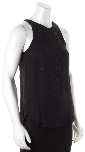 A.L.C. Black Embellished Crystal Studded Back Slit Blouse