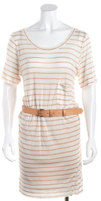 A.L.C. White Beige Striped Pocket Detail Belted Knit Shift Dress