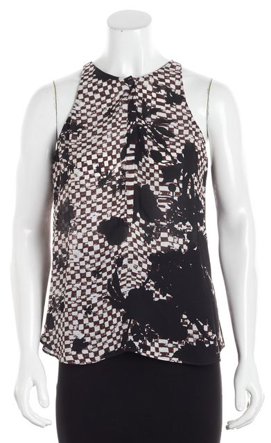 A.L.C. Red Floral Abstract Silk Sleeveless Blouse
