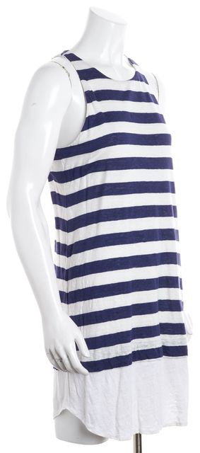 A.L.C. Blue White Pent Striped Sleeveless Swoop Neck Linen Shirt Dress