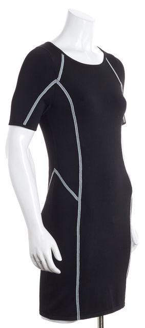 A.L.C. Black White Green Geometric Striped Short Sleeve Bodycon Dress