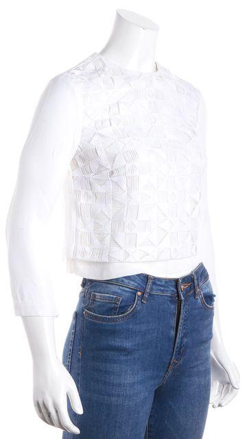 A.L.C. White Cropped Blouse Top