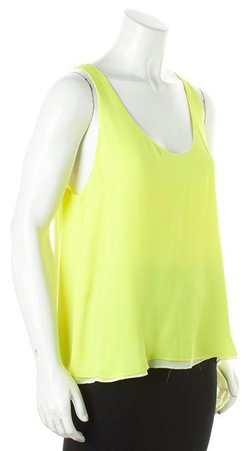 A.L.C. Neon Yellow Silk Slouchy Tank Blouse
