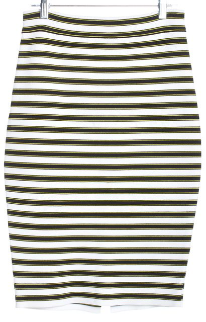 A.L.C. White Black Yellow Striped High-Waisted Stretch Knit Pencil Skirt