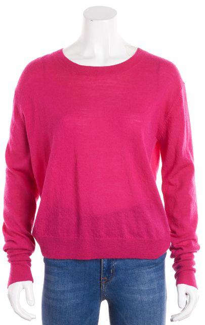 A.L.C. Pink Wool Knit Long Sleeve Open Back Crewneck Sweater