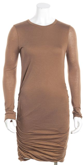 A.L.C. Brown Ruched Sides Bodycon Dress