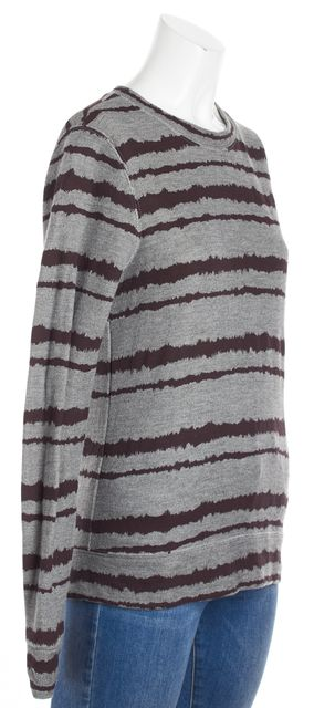 A.L.C. Gray Maroon Striped Crewneck Sweater
