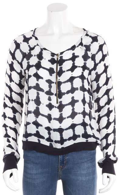 A.L.C. Ivory Blue Abstract Long Sleeve Round Neck Zip Front Silk Blouse