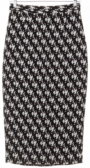 A.L.C. Black White Brown Abstract Silk Straight Skirt