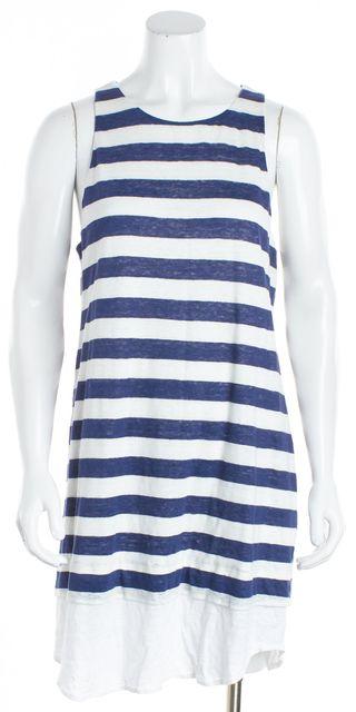 A.L.C. White Navy Blue Striped Linen Shift Dress