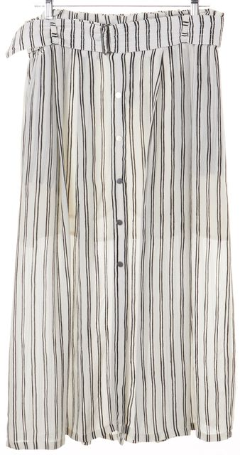 A.L.C. White Black Striped Pleated Button Detailed Silk Maxi Skirt