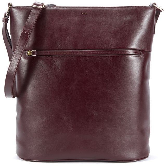 A.L.C. Dark Maroon Red Leather Tote Shoulder Bag