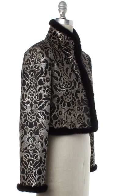 ALBERTA FERRETTI Silver Black Calfskin Fur Trim Open Jacket