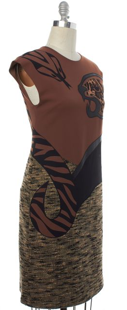 ALBERTA FERRETTI Brown Black Snake Leopard Sheath Dress