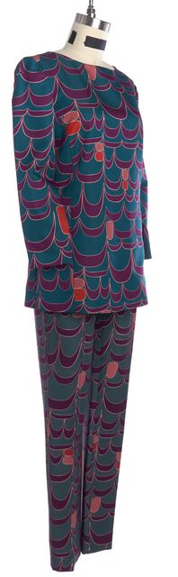 ALBERTA FERRETTI Green Purple Print Top Pant Set