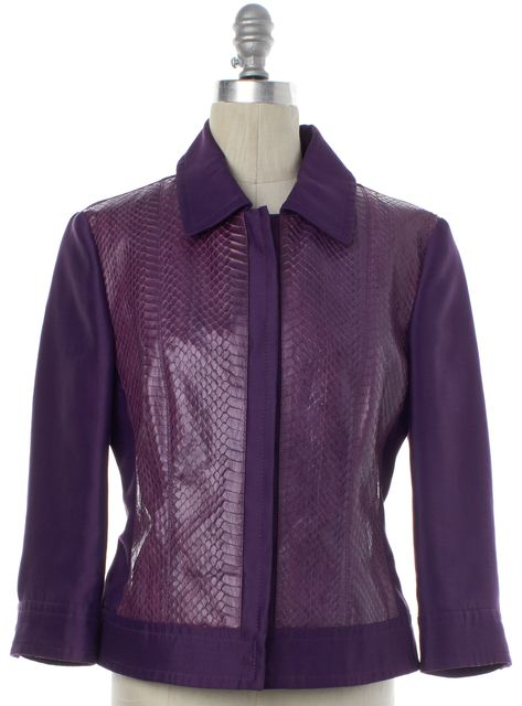 ALBERTA FERRETTI Purple Snakeskin Print Zip Up Jacket