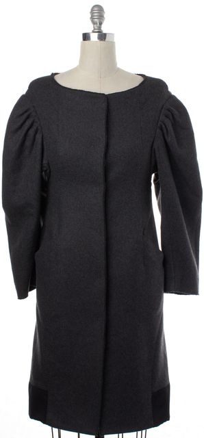 ALBERTA FERRETTI Gray Wool Structured Long Coat