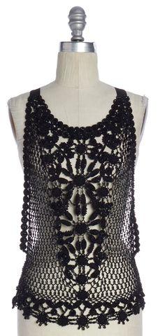 ALBERTA FERRETTI Black Crochet Beaded Open Knit Top