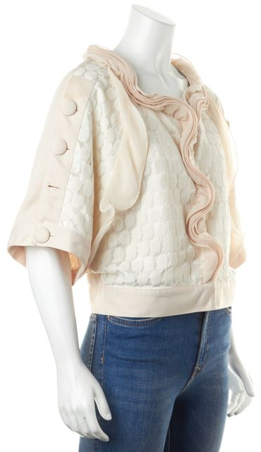 ALBERTA FERRETTI Ivory Embroidered Net Lace Silk Cropped Basic Jacket