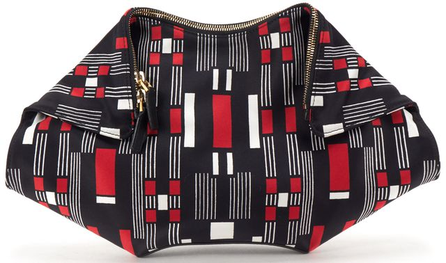 ALEXANDER MCQUEEN Red Black White Satin Print De Manta Clutch