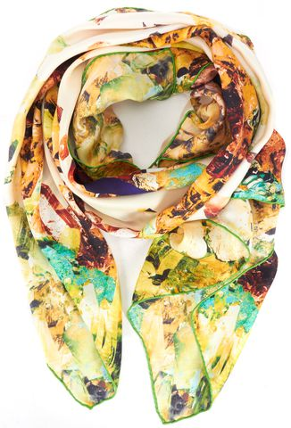 ALEXANDER MCQUEEN White Yellow Green Silk MCQ Extra Large Square Scarf