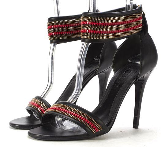 ALEXANDER MCQUEEN Black Leather Embellished Ankle Strap Heels Size 39.5